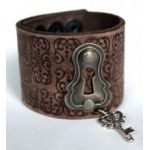 Jewelry Junkie Lock & Key Hand-Stamped Leather Cuff Bracelet