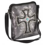 Blazin Roxx Metallic Studded Croc Print Crossbody Bag