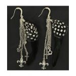 Blazin Roxx Fleur-De-Lis Charm & Feather Earrings