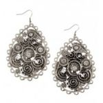 Fancy Scroll Rhinestone Embellished Earrings