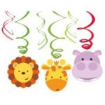 Set 6 decoratiuni spirale party Jungle Animals