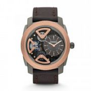 Fossil - Mechanical Twist Leather Watch – Brown