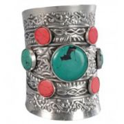 Fancy Silver-Tone Faux Turquoise & Coral Stone Cuff Bracelet