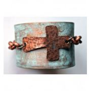 Jewelry Junkie Hammered Cross with Chain Hand-Painted Leather Cuff Bracelet