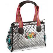 Montana West Metallic Quilted Floral Embroidered Shoulder Bag