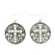 Blazin Roxx Rhinestone Concho Cross Earrings