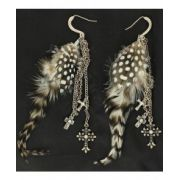 Blazin Roxx Cross Charm Feather Earrings