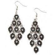 Silver & Black Chandelier Earrings