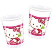 Set 8 pahare plastic Hello Kitty Hearts