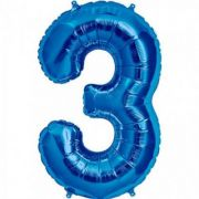 Balon folie figurina blue cifra 3
