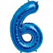 Balon folie figurina blue cifra 6