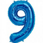 Balon folie figurina blue cifra 9