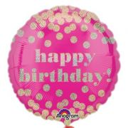 Balon folie 45 cm Happy Birthday Holographic Pink Dottie