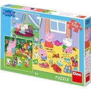 Puzzle 3 in 1 - Purcelusa Peppa in vacanta, 55 piese