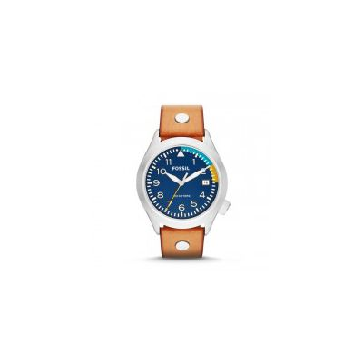 Fossil - The Aeroflite Three-Hand Date Leather Watch - Tan