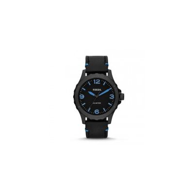 Fossil - Nate Three-Hand Leather Watch - Black