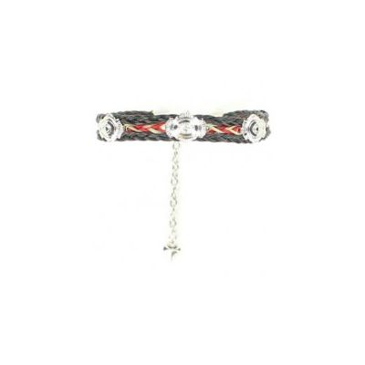 Blazin Roxx Red & Black Braided Horse Hair Concho Bracelet