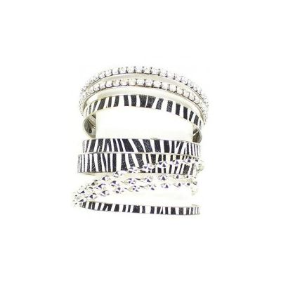 Blazin Roxx Zebra Print Rhinestone Bangle Set