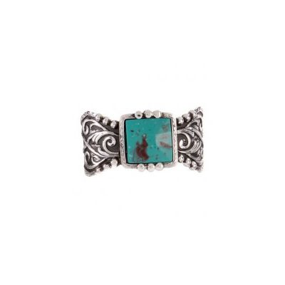 Montana Silversmiths Scroll and Faux Turquoise Cuff Bracelet