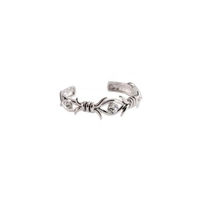 Montana Silversmiths Silver-tone Barbed Crystal Cuff Bracelet