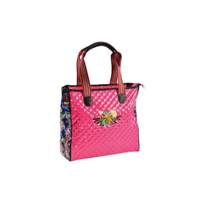 Montana West Quilted Patent Leather Floral Print Tote Bag