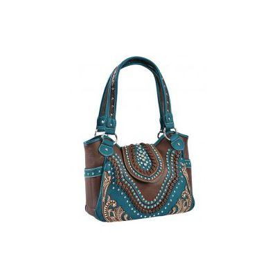Montana West Conceal & Carry Laced & Studded Turquoise Tote Bag