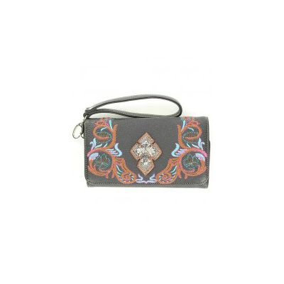 Blazin Roxx Embroidered Cross Concho Wallet Clutch
