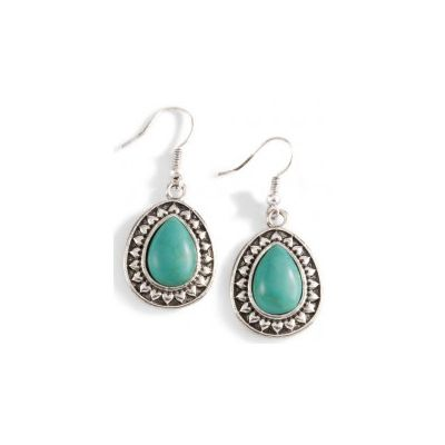 Silver-Tone Teardrop & Faux Turquoise Earrings