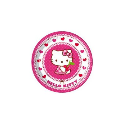 Set 8 farfurii Hello Kitty Hearts - 23 cm