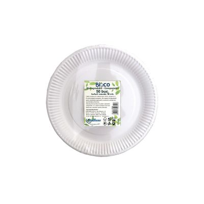 Bioco set 50 farfurii rotunde din carton 18 cm